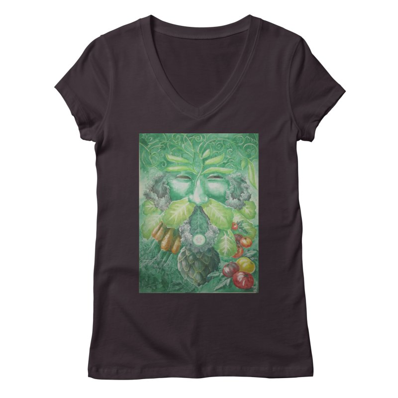 Garden Green Man with Kale and Artichoke Women's V-Neck by Yodagoddess' Artist Shop