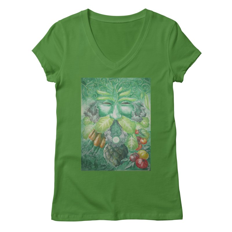 Garden Green Man with Kale and Artichoke Women's V-Neck by Yodagoddess' Artist Shop