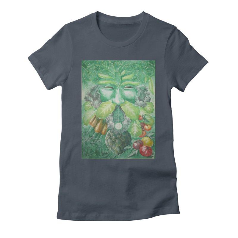Garden Green Man with Kale and Artichoke Women's T-Shirt by Yodagoddess' Artist Shop