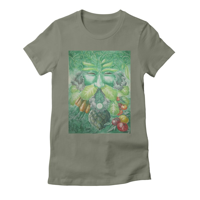 Garden Green Man with Kale and Artichoke Women's Fitted T-Shirt by Yodagoddess' Artist Shop