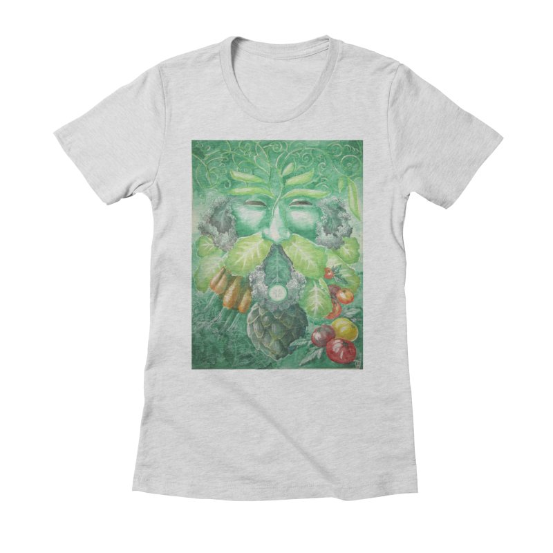Garden Green Man with Kale and Artichoke Women's Fitted T-Shirt by Yodagoddess' Artist Shop