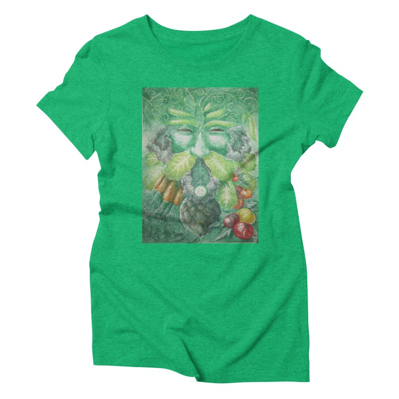 Garden Green Man with Kale and Artichoke Women's Triblend T-Shirt by Yodagoddess' Artist Shop