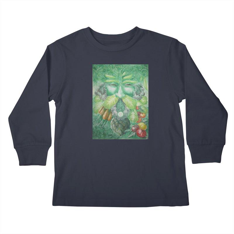 Garden Green Man with Kale and Artichoke Kids Longsleeve T-Shirt by Yodagoddess' Artist Shop