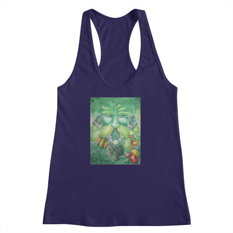 Garden Green Man with Kale and Artichoke Women's Racerback Tank by Yodagoddess' Artist Shop