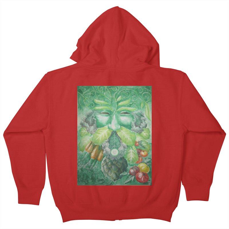 Garden Green Man with Kale and Artichoke Kids Zip-Up Hoody by Yodagoddess' Artist Shop