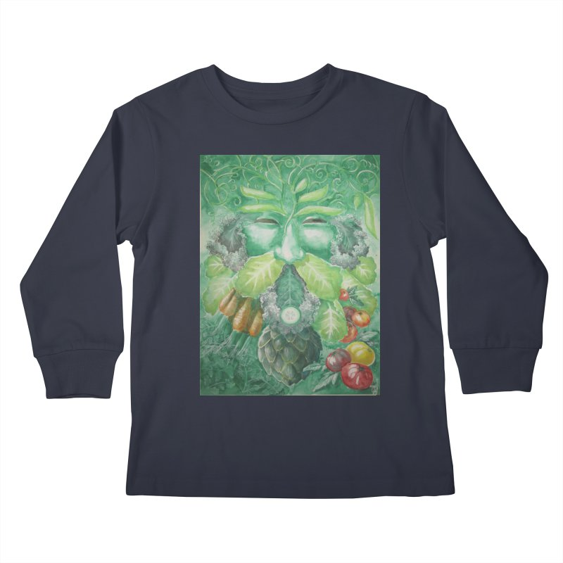 Garden Green Man with Kale and Artichoke Kids Longsleeve T-Shirt by Yodagoddess' Artist Shop