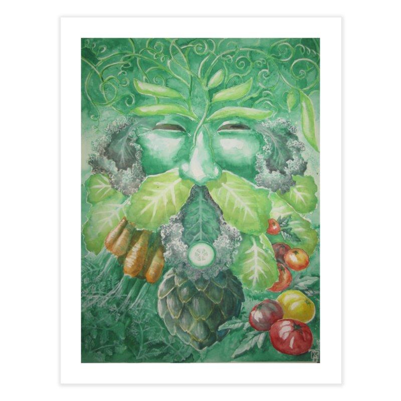 Garden Green Man with Kale and Artichoke Home Fine Art Print by Yodagoddess' Artist Shop