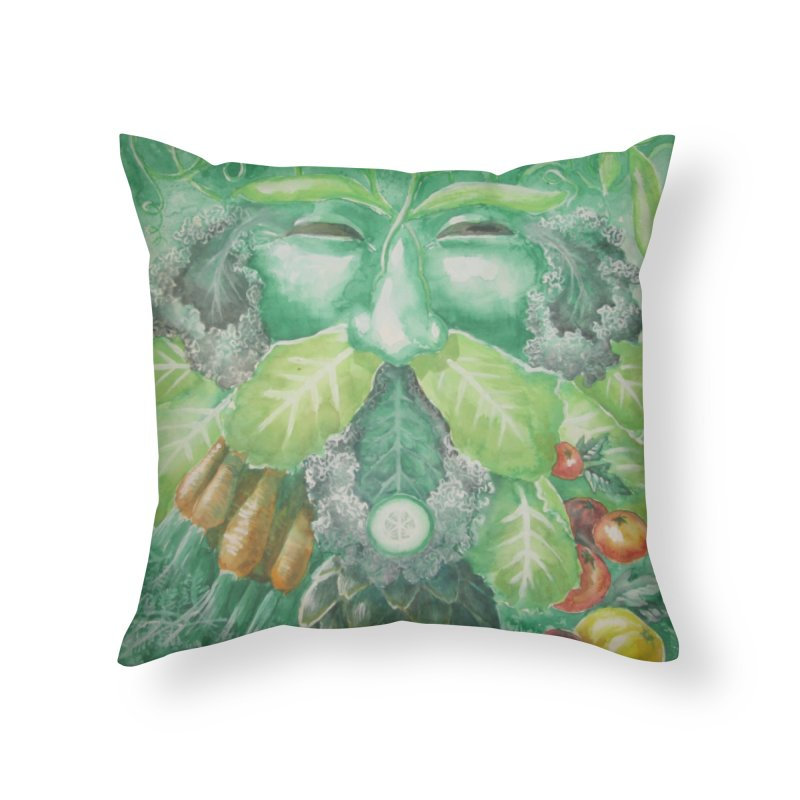 Garden Green Man with Kale and Artichoke Home Throw Pillow by Yodagoddess' Artist Shop