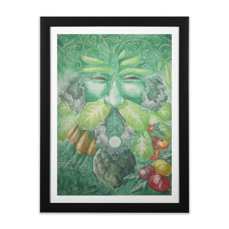 Garden Green Man with Kale and Artichoke Home Framed Fine Art Print by Yodagoddess' Artist Shop