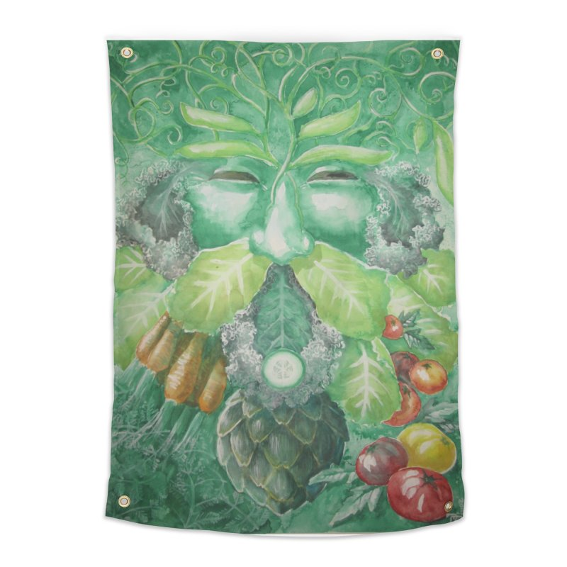 Garden Green Man with Kale and Artichoke Home Tapestry by Yodagoddess' Artist Shop