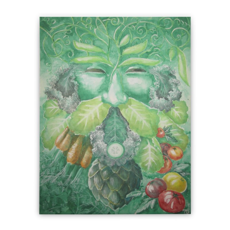 Garden Green Man with Kale and Artichoke Home Stretched Canvas by Yodagoddess' Artist Shop