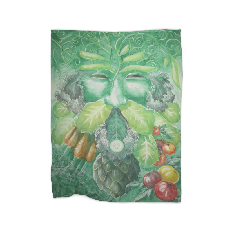 Garden Green Man with Kale and Artichoke Home Blanket by Yodagoddess' Artist Shop