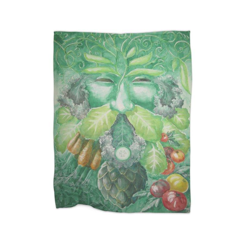 Garden Green Man with Kale and Artichoke Home Blanket by Yodagoddess' Artist Shop