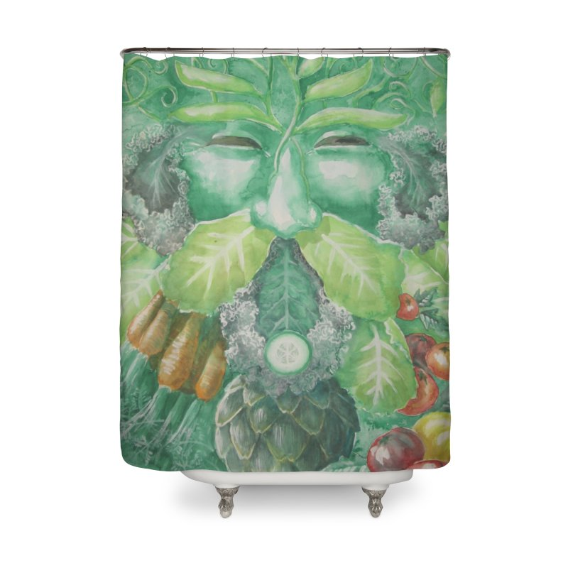 Garden Green Man with Kale and Artichoke Home Shower Curtain by Yodagoddess' Artist Shop