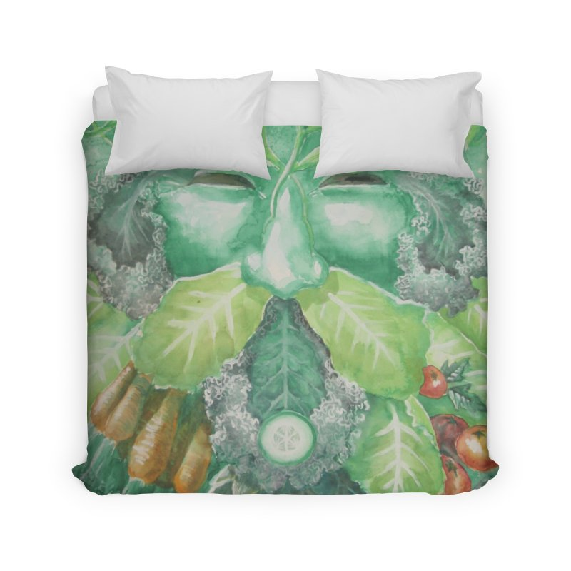 Garden Green Man with Kale and Artichoke Home Duvet by Yodagoddess' Artist Shop