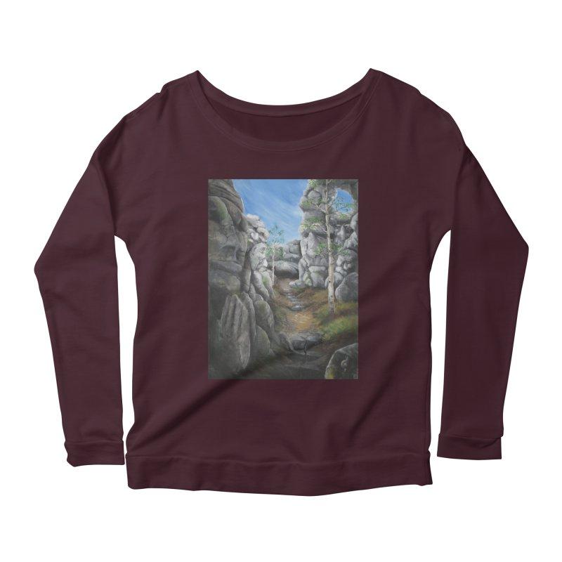 Rock Faces Women's Scoop Neck Longsleeve T-Shirt by Yodagoddess' Artist Shop