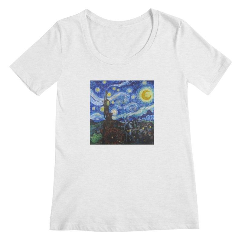 Steampunk Starry Night Women's Scoopneck by Yodagoddess' Artist Shop