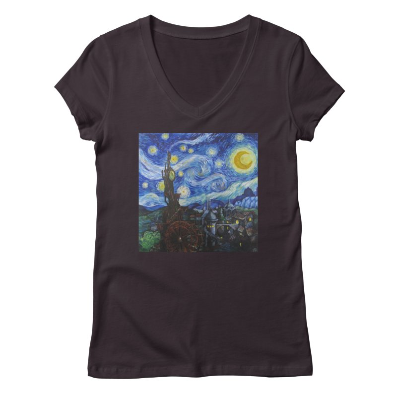 Steampunk Starry Night Women's Regular V-Neck by Yodagoddess' Artist Shop