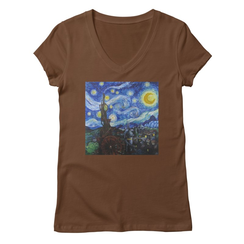 Steampunk Starry Night Women's V-Neck by Yodagoddess' Artist Shop