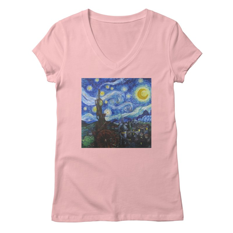 Steampunk Starry Night Women's V-Neck by Yodagoddess' Artist Shop