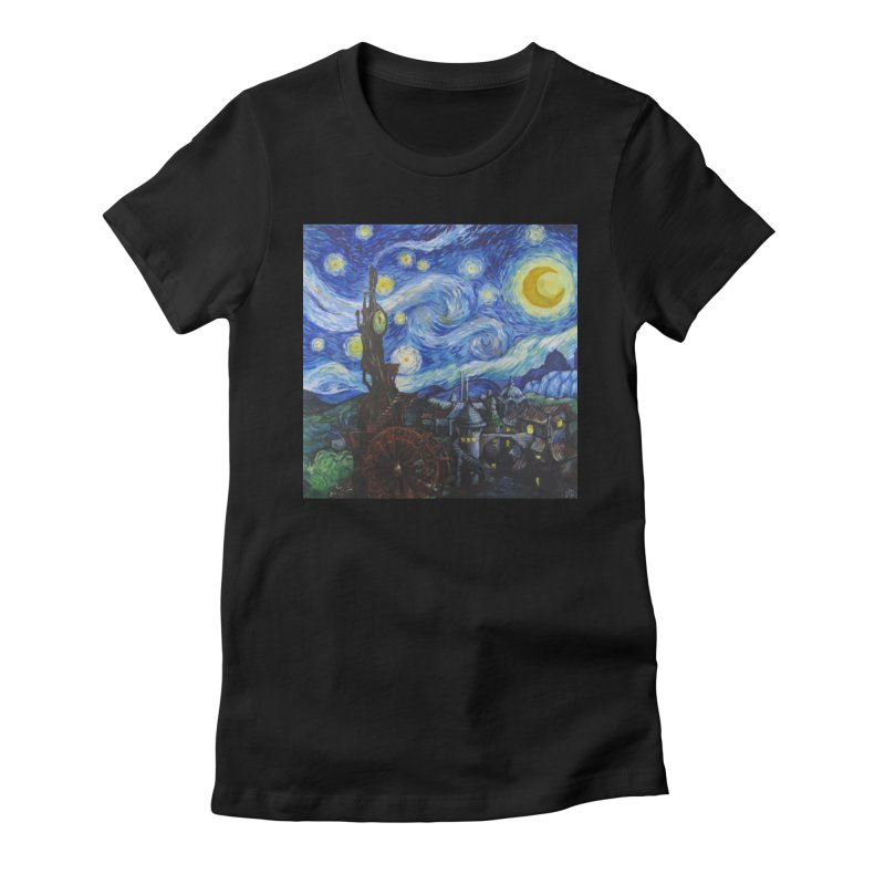 Steampunk Starry Night Women's Fitted T-Shirt by Yodagoddess' Artist Shop