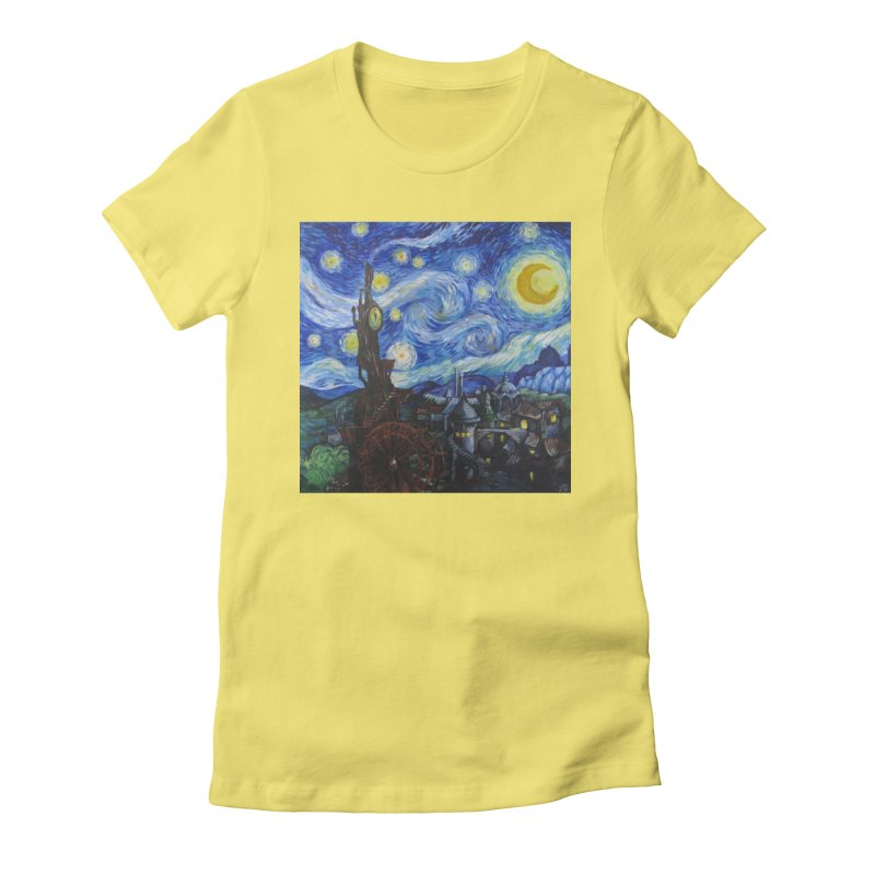 Steampunk Starry Night Women's Fitted T-Shirt by Yodagoddess' Artist Shop