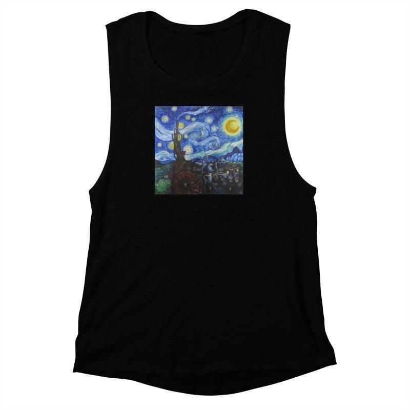Steampunk Starry Night Women's Muscle Tank by Yodagoddess' Artist Shop