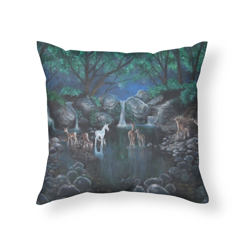 Unicorn Grotto Home Throw Pillow by Yodagoddess' Artist Shop