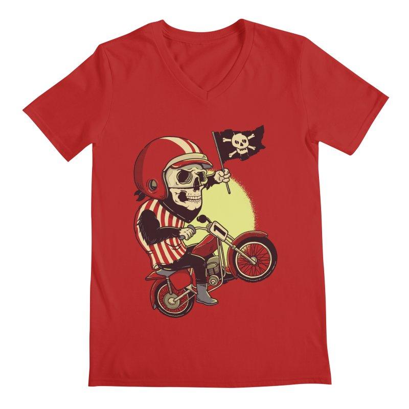 Skull Biker Men's V-Neck by yortsiraulo's Artist Shop