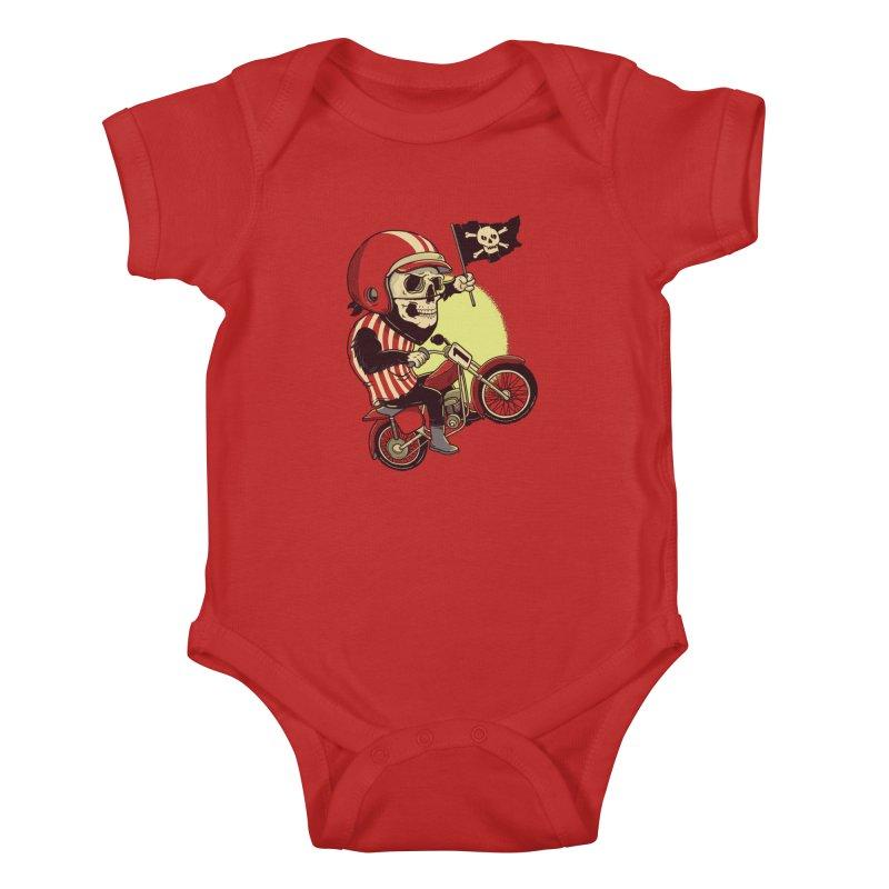 Skull Biker Kids Baby Bodysuit by yortsiraulo's Artist Shop