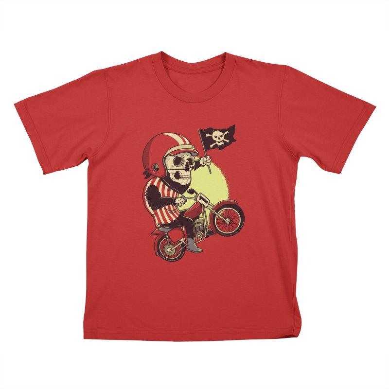 Skull Biker Kids T-shirt by yortsiraulo's Artist Shop