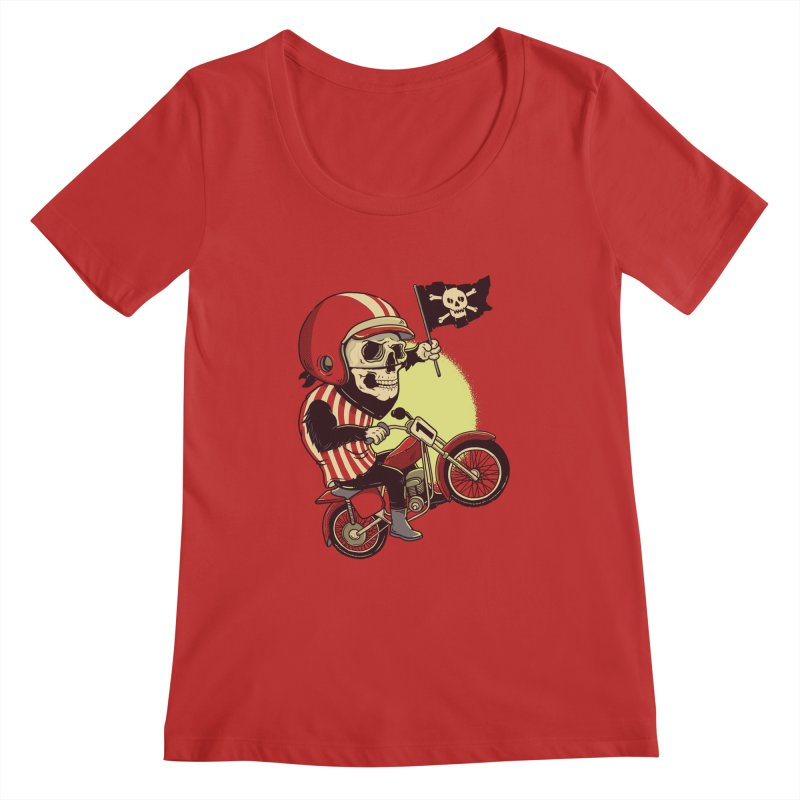 Skull Biker Women's Scoopneck by yortsiraulo's Artist Shop