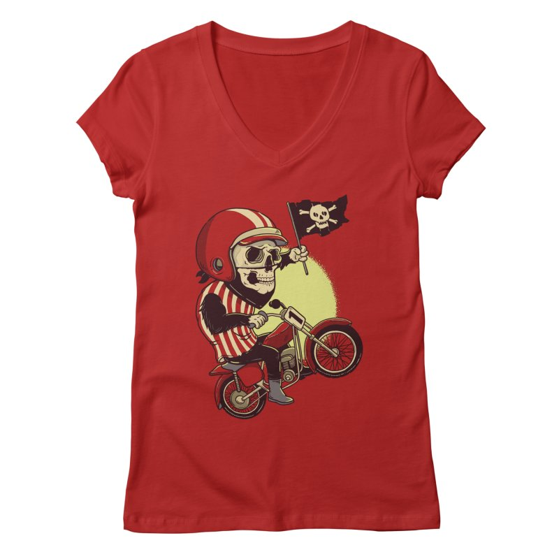 Skull Biker Women's V-Neck by yortsiraulo's Artist Shop
