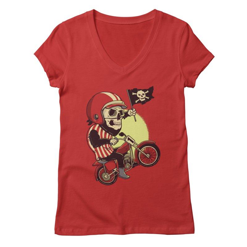 Skull Biker Women's V-Neck by yortsiraulo's Artist Shop