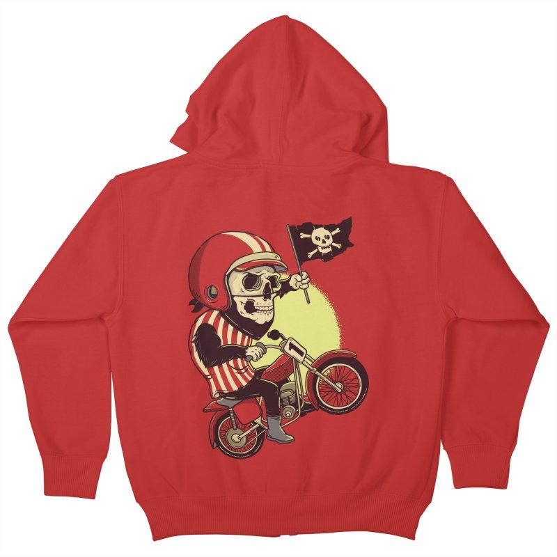 Skull Biker Kids Zip-Up Hoody by yortsiraulo's Artist Shop