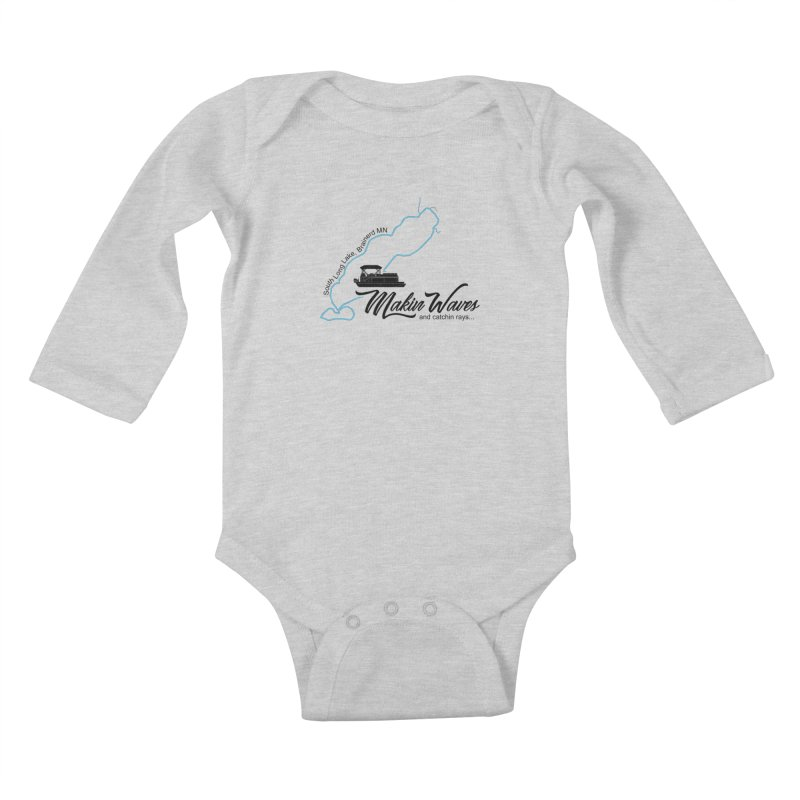 South Long Lake | Makin Waves | Black Lettering Kids Baby Longsleeve Bodysuit by Your Lake Apparel & Accessories