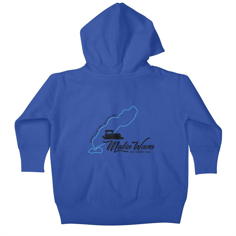 South Long Lake | Makin Waves | Black Lettering Kids Baby Zip-Up Hoody by Your Lake Apparel & Accessories