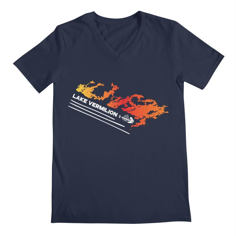 Lake Vermilion | White Lettering Men's Regular V-Neck by Your Lake Apparel & Accessories