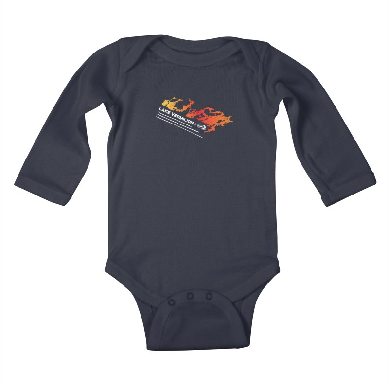 Lake Vermilion | White Lettering Kids Baby Longsleeve Bodysuit by Your Lake Apparel & Accessories