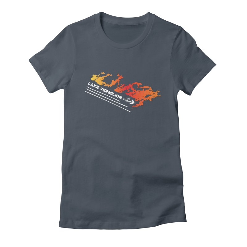 Lake Vermilion | White Lettering Women's Fitted T-Shirt by Your Lake Apparel & Accessories