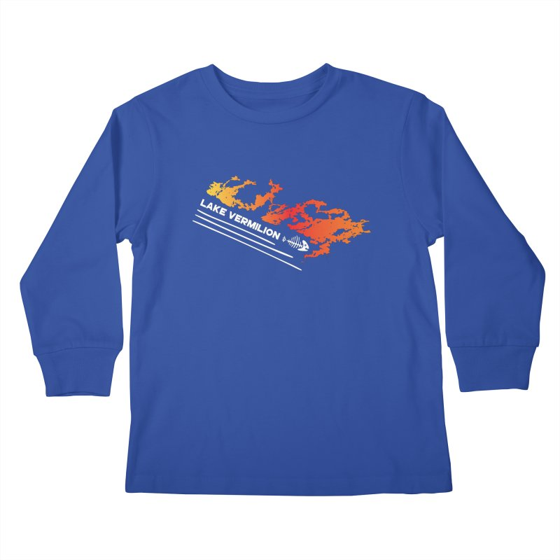 Lake Vermilion   White Lettering Kids Longsleeve T-Shirt by Your Lake Apparel & Accessories