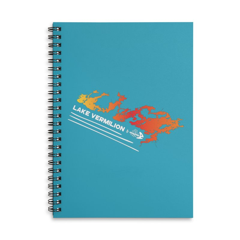 Lake Vermilion | White Lettering Accessories Lined Spiral Notebook by Your Lake Apparel & Accessories
