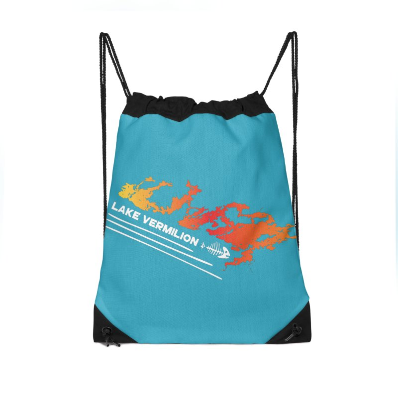 Lake Vermilion | White Lettering Accessories Drawstring Bag Bag by Your Lake Apparel & Accessories