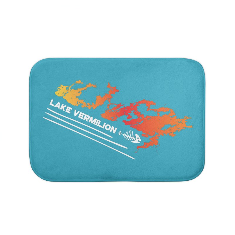 Lake Vermilion | White Lettering Home Bath Mat by Your Lake Apparel & Accessories