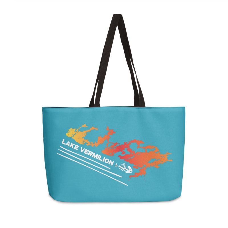 Lake Vermilion | White Lettering Accessories Weekender Bag Bag by Your Lake Apparel & Accessories