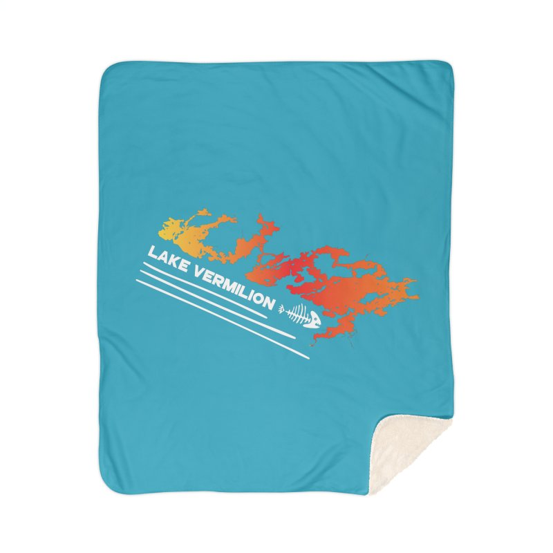 Lake Vermilion | White Lettering Home Sherpa Blanket Blanket by Your Lake Apparel & Accessories
