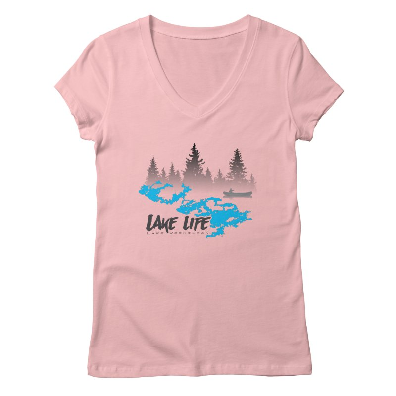 Lake Vermilion | Lake Life | Darker Lettering Women's Regular V-Neck by Your Lake Apparel & Accessories