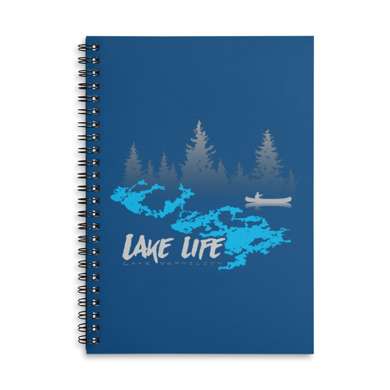 Lake Vermilion | Lake Life | Light Lettering Accessories Lined Spiral Notebook by Your Lake Apparel & Accessories