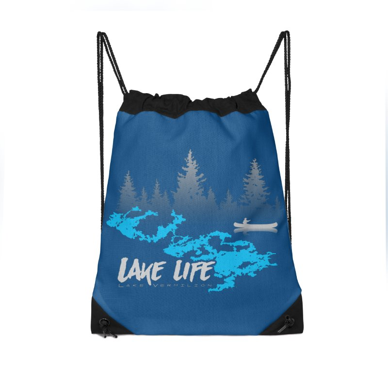 Lake Vermilion | Lake Life | Light Lettering Accessories Drawstring Bag Bag by Your Lake Apparel & Accessories