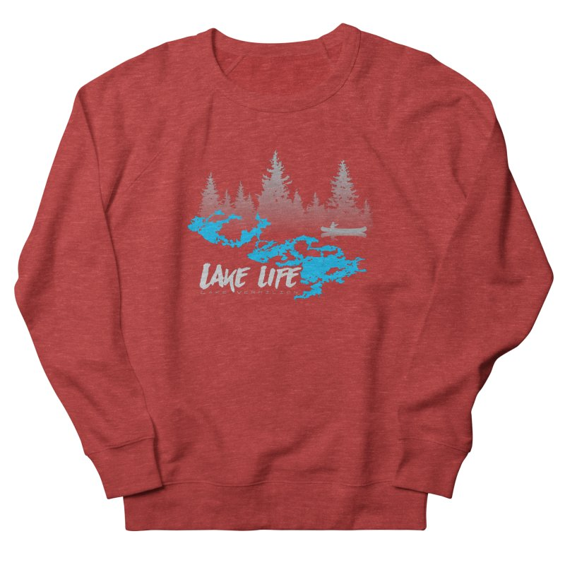 Lake Vermilion | Lake Life | Light Lettering Men's French Terry Sweatshirt by Your Lake Apparel & Accessories